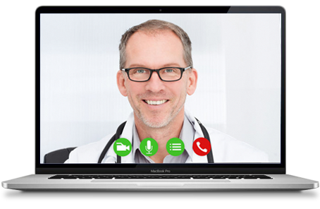 Doctor on the computer screen